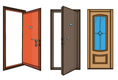Closed and open doors .cartoon style. Closed and open doors on a white background.cartoon style Royalty Free Stock Photo
