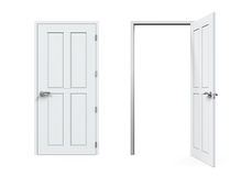 Closed and Open Doors Isolated Royalty Free Stock Images