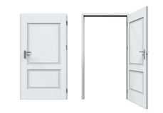 Closed and Open Doors Isolated Royalty Free Stock Photos
