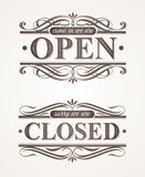 Closed and Open ornate retro signs Stock Image