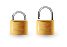 Closed and open  padlock  illustration. Isolated on white Stock Image