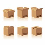 Closed and open recycle brown carton delivery packaging box with fragile signs.   Royalty Free Stock Photo
