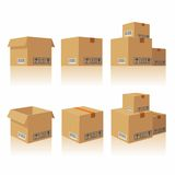 Closed open recycle brown carton delivery packaging box fragile signs Royalty Free Stock Images