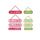 Closed and open vector pixel icons isolated, collection of 8bit Royalty Free Stock Photography