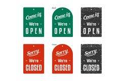 Closed & Open Signs vector illustration