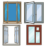 Closed and open windows .cartoon style Stock Image