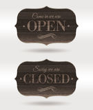 Closed and Open wooden retro signs. Retro wooden signs - Open and Closed Stock Photos