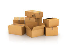Closed and opened cardboard boxes Royalty Free Stock Photo