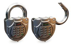 Closed and opened combination padlock Royalty Free Stock Photos