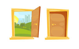 Closed and opened door with sunset landscape behind. Door entrance open and view to sky with sun and urban green park illustration stock illustration