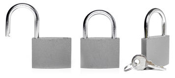 Closed and opened lock Stock Images