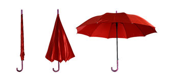 Closed and opened umbrella. Closed and opened red umbrella Royalty Free Stock Images