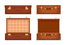 Closed And Opened Vintage Suitcases Vector Illustration