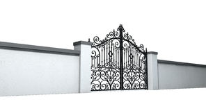 Closed Ornate Gates And Wall Royalty Free Stock Photography