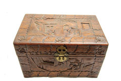 Closed Ornate Hand Carved Asian Box Stock Photography