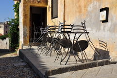 Closed outdoor pavement cafe terrace in Italy Royalty Free Stock Image
