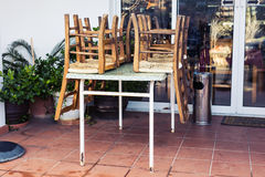 Closed outdoor restaurant Royalty Free Stock Photo
