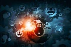 Closed pad lock on digital background. Internet security. Safety concept. Closed pad lock on digital background royalty free illustration