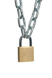 Closed padlock and chain Royalty Free Stock Photography