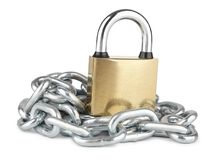 Closed padlock with chrome-plated chain isolated on white. Property protection, symbolic security stock photos