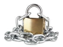 Closed padlock with chrome-plated chain isolated on white, property protection, symbolic security stock photography