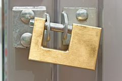 Closed padlock on  a door Stock Photography