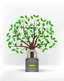 Closed padlock in front of green leafy tree vector Royalty Free Stock Photography