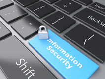 Closed Padlock and Information Security on computer keyboard. Pr Royalty Free Stock Photos