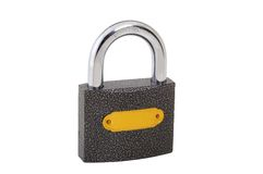 Closed padlock isolated on white. Whit path Stock Images