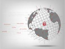 Closed padlock protect world global network. Cyber Security Concept : Closed padlock protect world global network on binary code white background Stock Photo