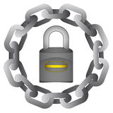 Closed padlock in strong steel circle chain  Royalty Free Stock Photos