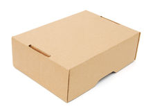Closed paper box. Lying on white background Royalty Free Stock Images