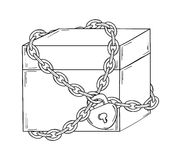 Closed paper box with chain and lock Royalty Free Stock Photos