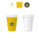 Closed paper cup for coffee with texture Royalty Free Stock Photography