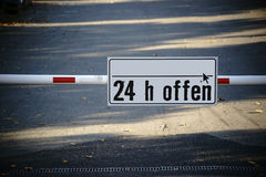 Closed parking space. A closed barrier at the entrance to a parking lot Royalty Free Stock Photo