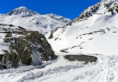Closed pass road in winter, Great St Bernard Pass,  Switzerland Royalty Free Stock Photos