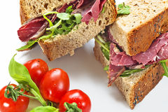 Closed Pastrami Sandwich Stock Image