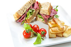 Closed Pastrami Sandwich Stock Photography