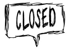 CLOSED on a pencil sketched sign. Illustration graphic concept Royalty Free Stock Photos