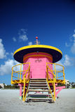 Closed Pink Lifeguard Tower in South Beach Stock Images