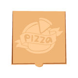 Closed pizza box vector illustration delivery service craft isolated on background business food package blank cardboard Royalty Free Stock Image