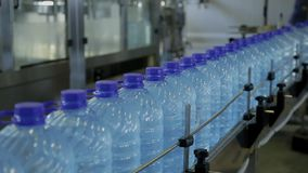 Closed plastic water bottles roll along conveyor belt of container. stock video