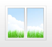 Closed plastic window with view Stock Photos