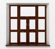 Closed plastic window with wooden texture Royalty Free Stock Photos