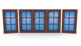 Closed plastic windows with blue sky and clouds. 3d illustration on white background Royalty Free Stock Photos