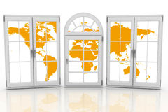 Closed plastic windows wiht map of world on white background. Royalty Free Stock Photos