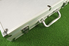 Closed Poker Case. A closed poker case on a green table Royalty Free Stock Image