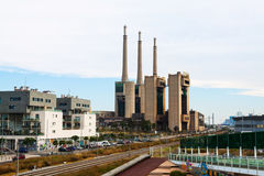 Closed power thermal station. Barcelona Royalty Free Stock Image