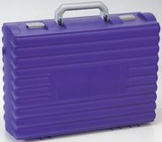 Closed Purple plastic School case. With clipping path Royalty Free Stock Image