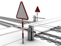 Closed railway crossroad. With sign and ramp Royalty Free Stock Photos
